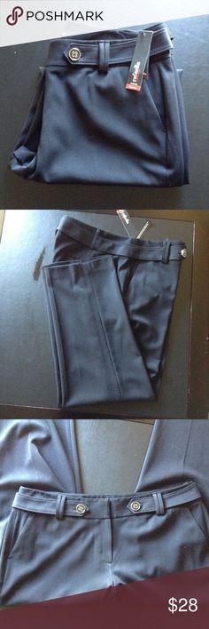 RAFAELLA PANTS Adorable faux belt with flower designed buttons  measures w40 x l30 front rise 11in Rafaella Pants Trousers