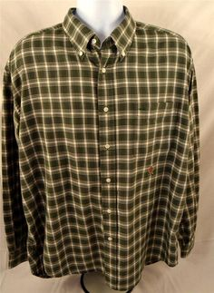Tommy Hilfiger Mens Size XL Long Sleeve 100% Cotton Green Plaid Shirt #TommyHilfiger #ButtonFront