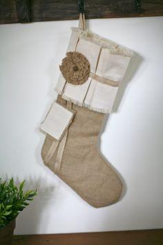 Items similar to Rustic Burlap Christmas Stocking - Three Roses on Etsy Burlap Christmas Stockings, Burlap Stockings, Country Christmas, Christmas Time, Christmas Ideas, Seasonal Decor, Holiday Decor, Holiday Ideas, Crafty Projects