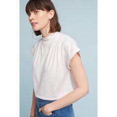 Anthropologie Mock Neck Cropped Tee ($48) ❤ liked on Polyvore featuring tops, t-shirts, ivory, sweater pullover, mock neck crop top, pullover top, mock neck t shirt and crop tee