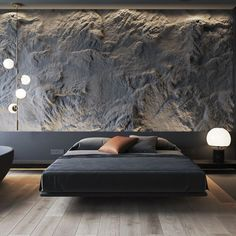 a bed in a cave Design, Furniture and more ( Modern Bedroom Decor, Home Bedroom, Stone Interior, Home Interior Design, Feature Wall Bedroom, Minimalist Interior, Cool Rooms, Home Office Decor, Modern House Design