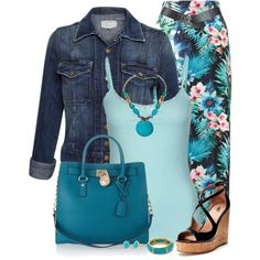 """Maxi Skirt and Denim Jacket"" by daiscat on Polyvore"
