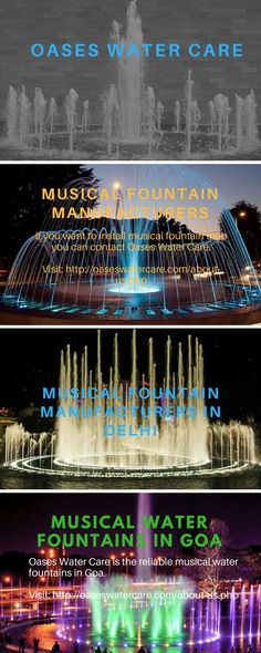 Oases Water Care is one of the reliable and innovative musical fountain manufacturers in India. They have long years of experience in the development and construction of the fountains.  To know more visit here: http://oaseswatercare.com/about-us.php