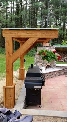 Bbq Gazebo, Backyard Pavilion, Backyard Sheds, Backyard Patio Designs, Outdoor Pergola, Backyard Landscaping, Outdoor Kitchen Patio, Outdoor Kitchens, Outdoor Rooms