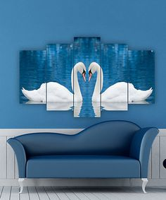 Accent a bare wall with this eye-catching artwork boasting vibrant hues and an intriguing five-panel design. 5 Panel Wall Art, My Room, Girly, Swan, Outdoor Decor, Painting, Furniture, Home Decor, Ideas