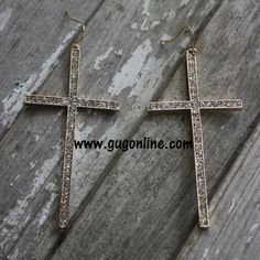 Use the discount code GUGREPKCAR for 10% off your entire purchase at www.gugonline.com! Gold Crystal Cross Earrings