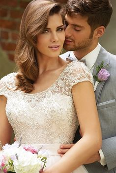 Luxury Big Tulle Ball Gown Wedding Dress with Scoop Neck Cap Sleeves Beaded Bodice and Low Back Wedding Dress Shopping, Modest Wedding Dresses, Wedding Gowns, Wedding Bells, Tulle Ball Gown, Ball Gowns, Bridal Salon, Bride Gowns, Bridal Style