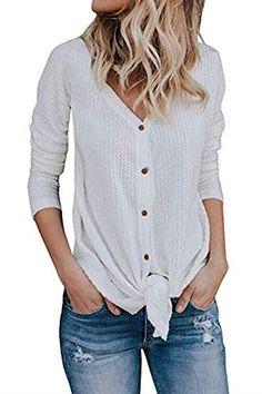 Women's Henleys - Imily Bela Womens Waffle Knit Tunic Blouse Tie Knot Henley Tops Bat Wing Plain Shirts at Women's Clothing store: Women's Henley, Henley Shirts, Tie Blouse, Shirt Blouses, Blouse Outfit, Cardigan Fashion, Cardigans For Women, Blouses For Women, Women's Cardigans