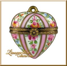 Classic Heart Pink Roses Pendant Limoges Box