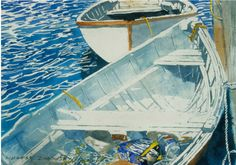 "boats friendship maine (7) 20"" x 26"" micheal zarowsky watercolour on arches paper / private collection"