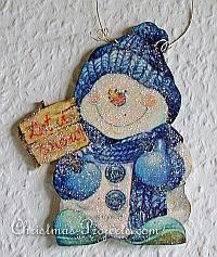 wooden snowman pic   Wooden Snowman Christmas Ornament