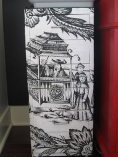 Materials: Ikea Helmer file cabinet, black spray paint, chinese chinoserie image from online and mod podge Description: I wanted my file cabinet to look le Filing Cabinets, Ikea Hacks, Painted Furniture, Diy Furniture, Furniture Refinishing, Repurposed Furniture, Furniture Projects, Furniture Making, Home Office