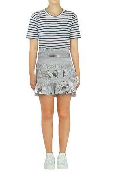 1d60962971 ISABEL MARANT JEANNE MINI RUCHING RUFFLE SKIRT SILVER Ruffle Skirt,  Ruffles, Isabel Marant,