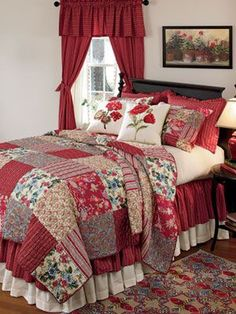 Gypsy Quilt and Curtains Collection - Country Curtains Like the layered dust ruffle Colchas Country, Country Quilts, Bedroom Sets, Home Bedroom, Bedroom Decor, Shabby Chic Curtains, Country Curtains, Designer Bed Sheets, Red Cottage