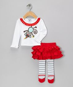 Take a look at this White & Red Monkey Top & Gray Stripe Skirted Leggings - Infant on zulily today!