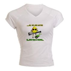 "John Lemon sings and plays guitar in ""All we are saying is give peas a chance"" from Fudebot health before history concert by Valxart.com   on womens Peformance shirt  is funny fudebot humor by Valxart. See us in pinterest at valxart.com for $40.49 Stay cool & dry while running, biking, hiking or exercising in this great-looking Dry Fit shirt. These Dry Fit T-shirts features moisture wicking to keep you fresh during a workout and minimize perspiration."