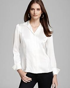 Lafayette 148 New York Wing Collar Blouse $268.00 - Buy it here: https://www.lookmazing.com/lafayette-148-new-york-wing-collar-blouse/products/5067986