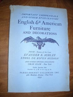 Parke Bernet Galleries Auction Catalog English & American Furniture (1953) Catalogue 1452 ~~ For Sale at  Wenzel Thrifty Nickel eCRATER store