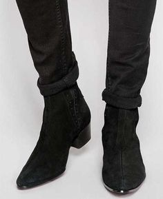 Buy Jeffery West Suede Chelsea Boots at ASOS. Get the latest trends with ASOS now. Black Suede Chelsea Boots, Mens Suede Boots, High Ankle Boots, Leather Boots, Shoe Boots, Mens Heeled Boots, Calf Leather, Soft Leather, Suede Leather