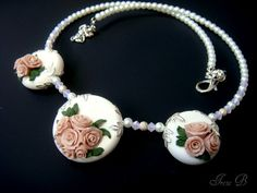 Rose Garden polymer clay necklace by evagirl12 on Etsy, $70.00