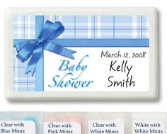 Blue Gift Wrap Baby Shower Personalized Mint Favors