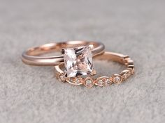 6.5mm Princess Cut Morganite Wedding Set Diamond Bridal Ring 14k Rose Gold Marquise Eternity Matching Band