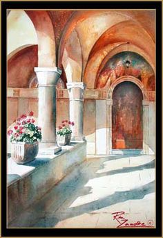 Frassino Monastery by Lake Garda - Watercolor of Peschiera, Italy