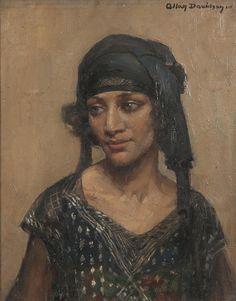 Allan Douglas Davidson  Portrait of a girl in flapper dress. British, 1873-1932