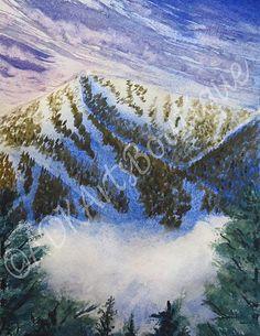 Watercolor Painting Landscape  Art Print.  by ADKArtsBoutique