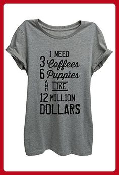 405fd44ec32 Thread Tank 3 Coffees 6 Puppies Womens Relaxed T-Shirt Tee Heather Grey  Large -