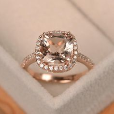 Engagement Ring Rose Gold, Pink Wedding Rings, Cushion Cut Engagement Ring, Dream Engagement Rings, Princess Cut Engagement Rings, Vintage Engagement Rings, Diamond Wedding Bands, Solitaire Engagement, Bridal Rings