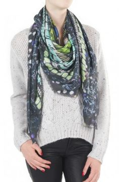 "The Popigai Square Scarf ($295) from @JANE CARR will give you that coveted ""model off duty"" look in no time! Today only (12/11/13) take 20% OFF with #promocode SCARVES20. #holiday2013 #giftguide #giftideas #giftsforher #scarves #couponcode #FW13 #janecarr"