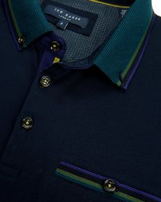 Stripe collar polo - Navy | Tops & T-shirts | Ted Baker UK