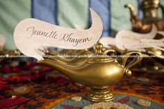 Arabian nights themed wedding place cards magic lamps