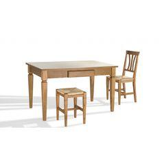 Mesa Arga modelo Toscana extensible con estructura en madera maciza de Roble y encimera en chapa natural de Roble. Se puede realizar a medida y en color a juego de tus muebles.