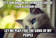 It's 3am and I'm on the wrong side of your bedroom door let me play you the song of my people