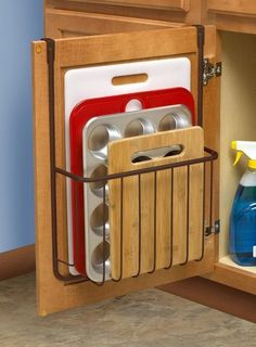 Over the Cabinet Cutting Board and Bakeware Holder Cabinet Door Organizer Find out more about update kitchen cabinets Update Kitchen Cabinets, Kitchen Cabinet Hardware, Kitchen Cabinet Design, Interior Design Kitchen, Cabinet Doors, Lining Kitchen Cabinets, Kitchen Walls, How To Organise Kitchen Cabinets, Kitchen Designs