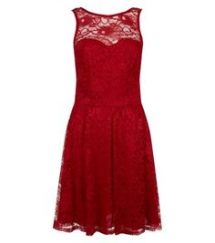 Red Sweetheart Sleeveless Lace Dress New Look