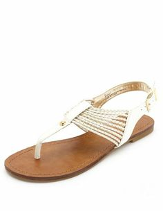Gold-Braided T-Strap Thong Sandals: Charlotte Russe