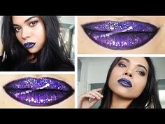 Australis Galaxy Lip Tutorial in under 2 minutes!   #makeup #lip #art #australis #glitter #galaxy #lipstick