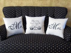 Pillow Set Trio for Newlyweds and Happily Married Couples, Mr. and Mrs. Pillows plus Fairy Tale Ending Pillow. $89.99, via Etsy.