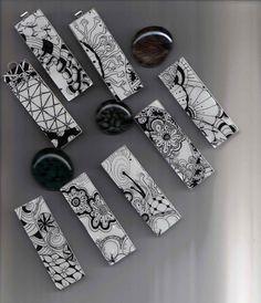 Zentangle inspired pendants by Certified Zentangle Teacher Toni Henneman by colette Tangle Doodle, Doodles Zentangles, Zentangle Patterns, Doodle Art, Paper Earrings, Paper Jewelry, Paper Beads, Jewelry Crafts, Nail Polish Art