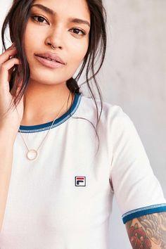 FILA + UO Ribbed Trim Logo Tee - Urban Outfitters