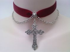 Large Silver Gothic CROSS With CHAIN Drapes by TwirlyTrinkets