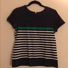 Mango Navy Structured Zipper Top with stripes Great top from Mango. It's a bit more structured, but it's incredibly comfy and perfect to throw on with jeans or a skirt to make any outfit amazing! Mango Tops Blouses