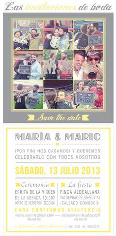 Invitaciones de boda vintage en gris y amarillo  http://www.kitikidesign.com/2013/07/invitaciones-de-boda-vintage-gris-y-amarillo.html