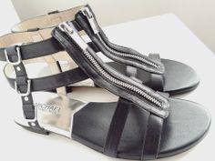 Michael Kors 'Kennedy' Flat Black Leather Gladiator Sandal Shoe SZ 8 New w/o Box