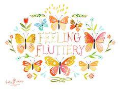 Feeling Fluttery     horizontal print by thewheatfield on Etsy, $18.00