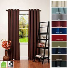 @Overstock - These light-blocking, thermal-insulated curtain panels are featured in a variety of warm colors. The modern look with soft lines makes your living space cozy, the 100-percent polyester construction makes these blackout curtains easy to clean.http://www.overstock.com/Home-Garden/Grommet-Top-Thermal-Insulated-84-inch-Blackout-Curtain-Panel-Pair/4359827/product.html?CID=214117 $64.49