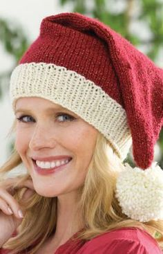 Knit Santa Hat Free Pattern from Red Heart Yarns